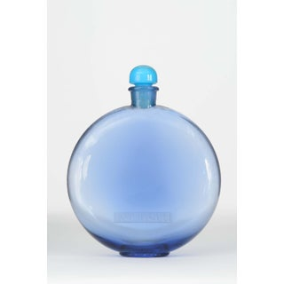 French Art Deco Disc-Shaped Blue-Tinted Glass Perfume Bottle Preview