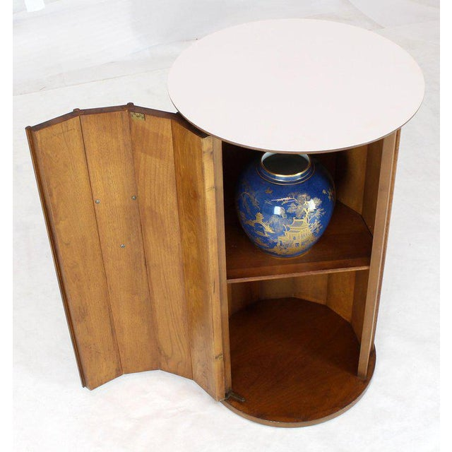 1970s Round Cylinder Shape Pedestal Bar Cabinet Storage Cabinet With Brass Hardware For Sale - Image 5 of 12