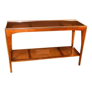 Mid Century Two Tier Glass Cane Console Sofa Table For Sale