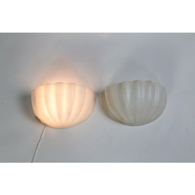 Stone Vintage Carved Alabaster Shell Sconces by Boyd - a Pair For Sale - Image 7 of 11