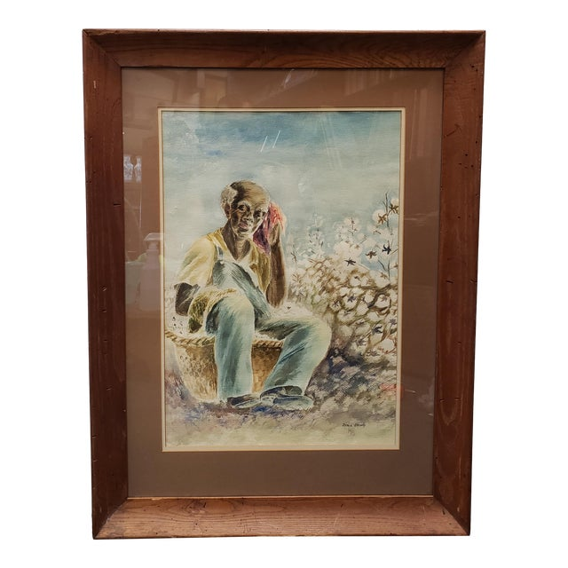 Vintage Black Man in Cotton Field Watercolor Painting by Irma Brady (20th Century) For Sale
