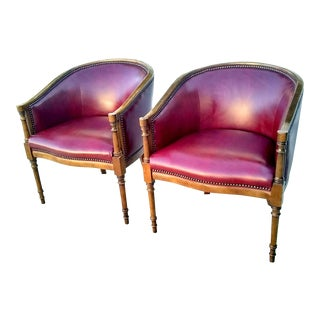 Vintage Merlot Vinyl Barrel Club Chairs