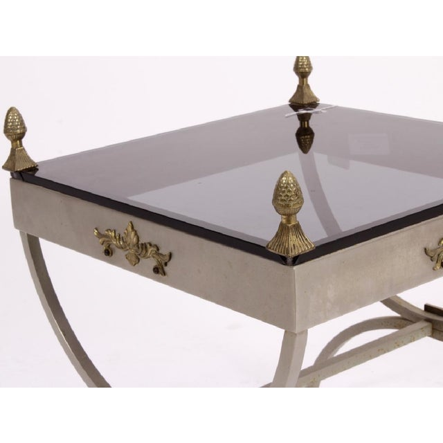 Neoclassical Neoclassical Metal Side Table For Sale - Image 3 of 5