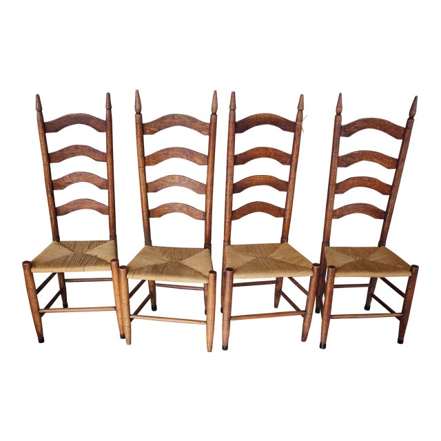 Antique Ladder Back Chairs With Rush Seating - Set of 4 - Antique Ladder Back Chairs With Rush Seating - Set Of 4 Chairish