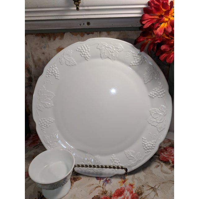 Vintage Milk Glass Serving Plate/Pedestal Dessert Dish With Grapevine Pattern For Sale - Image 10 of 13
