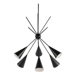 "Modern Black Enamel ""Bouquet"" Chandelier For Sale"
