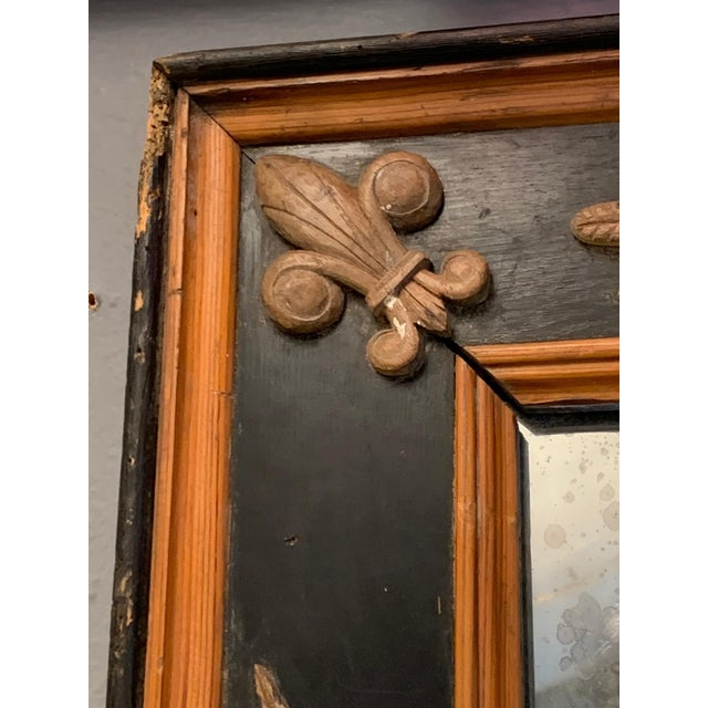 Carved Wood Art Nouveau Mirror With Fleur-DI-Lis For Sale In Philadelphia - Image 6 of 13
