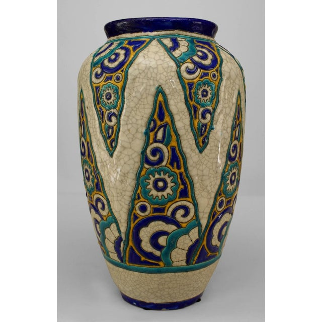 Art Deco (Belgium) Crackled Earthenware Vase For Sale - Image 4 of 4
