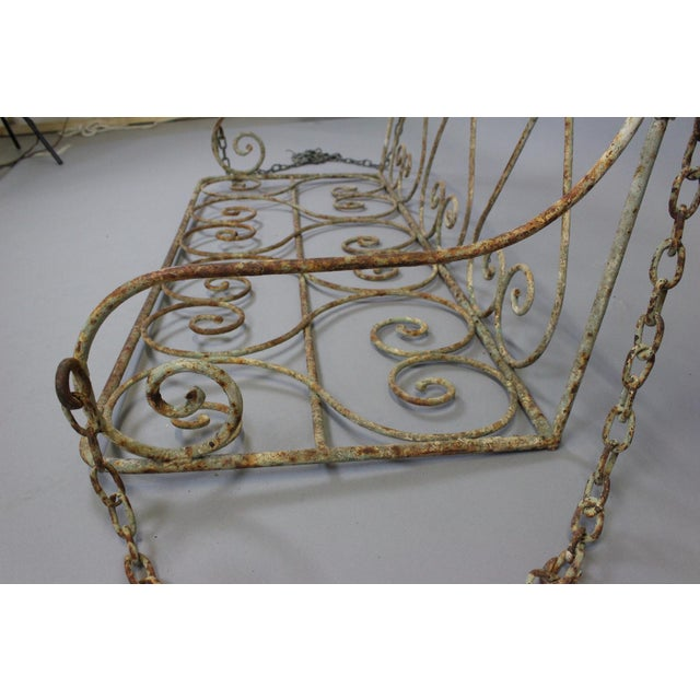 British Colonial 1880 English Iron Garden Swing For Sale - Image 3 of 7