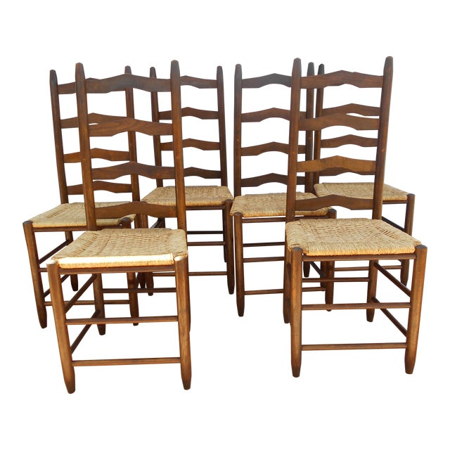 Vintage French Ladder Back Dining Chairs - Set of 6 - Image 1 of 9