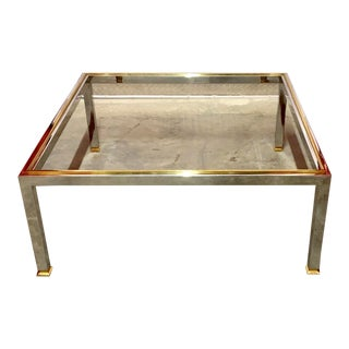 1970s Mid-Century Modern Milo Baughman Square Chrome and Glass Coffee Table For Sale
