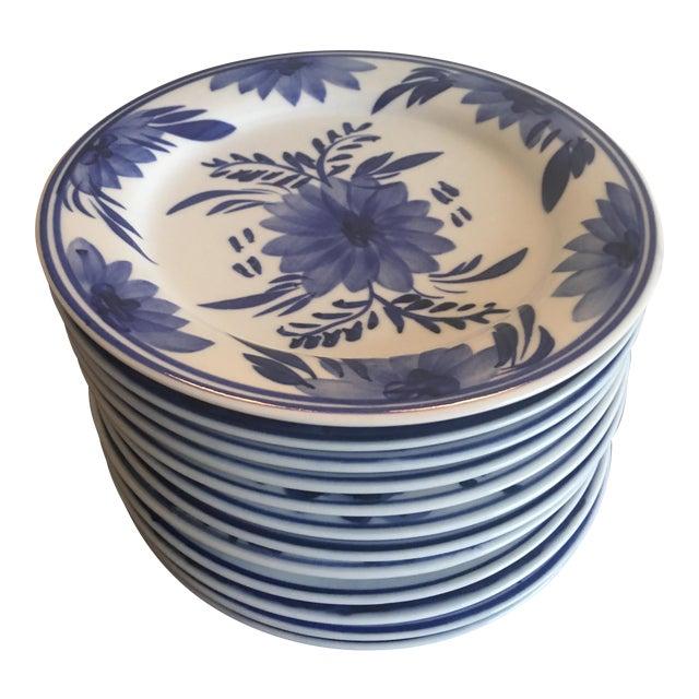 Blue & White Floral Dessert Plates - Set of 12 For Sale