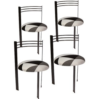 Set of Four 1980's, Memphis Style Dining Chairs