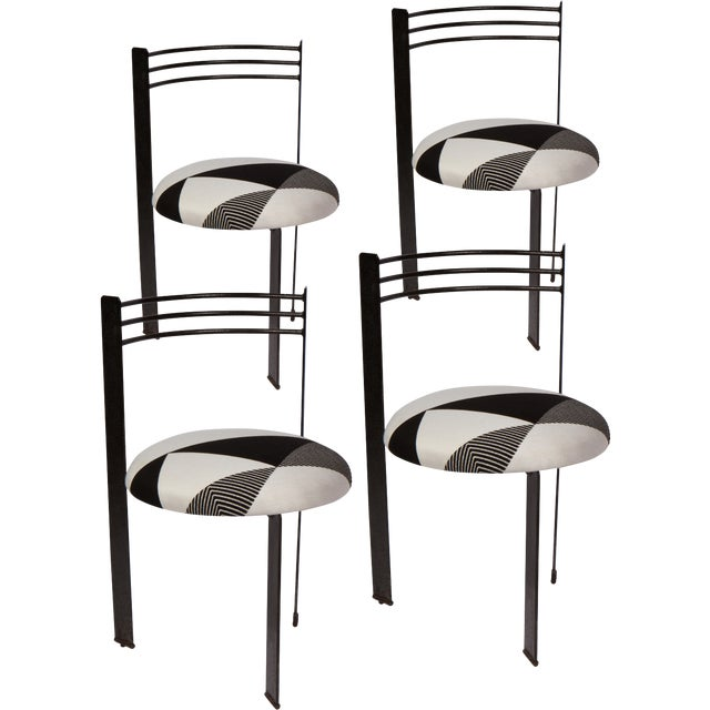 Set of Four 1980's, Memphis Style Dining Chairs For Sale