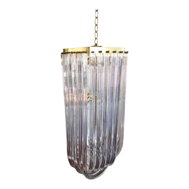 1960s Vintage Hollywood Regency Style Lucite Ribbon Chandelier For Sale