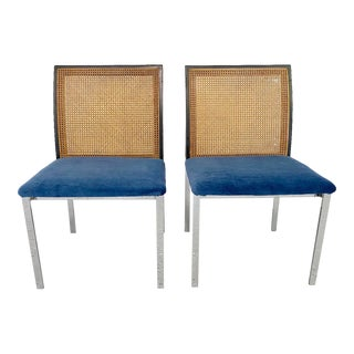 Mid Century Cane Back Side Chairs - a Pair For Sale