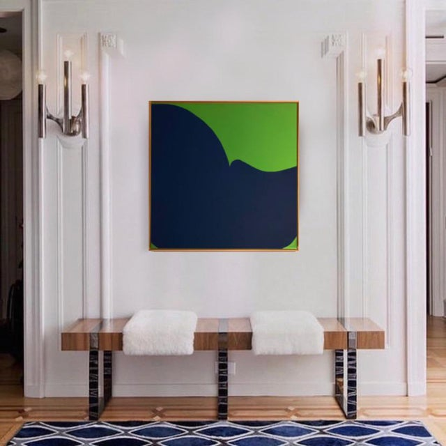 Contemporary Abstract Graphic Mixed-Media Painting by Brooks Burns, Framed For Sale - Image 4 of 5