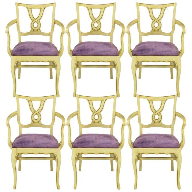 Six Ivory Glazed Regency Dining Armchairs For Sale