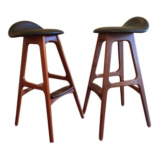 Erik Buch Teak Bar Stools Pair For Sale