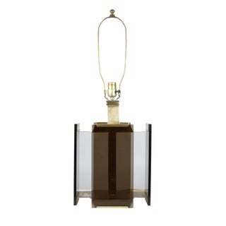 Paul Hanson Brass & Smoked Glass Table Lamp For Sale