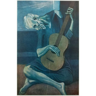 Picasso the Old Guitarist Original Vintage Lithograph For Sale