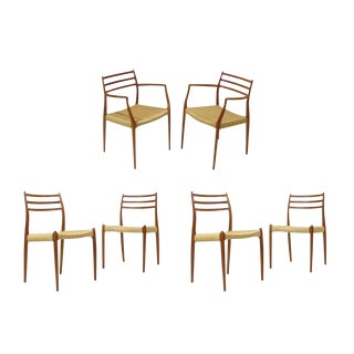JL Moller Model 62, 78 Carver Dining Chairs in Teak and Papercord - Set of 6 For Sale