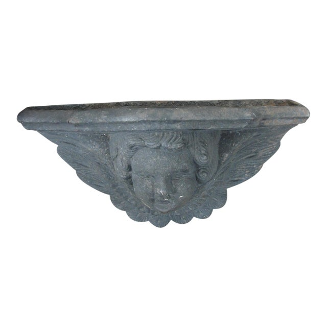 Cast Iron Wall Sconce Planter With Cherub Face For Sale