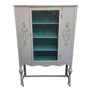 Vintage Gray China Cabinet With Turquoise Interior