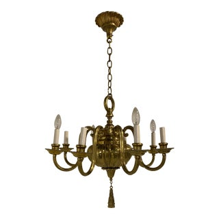 1920s Caldwell Gilt Bronze Chandelier For Sale