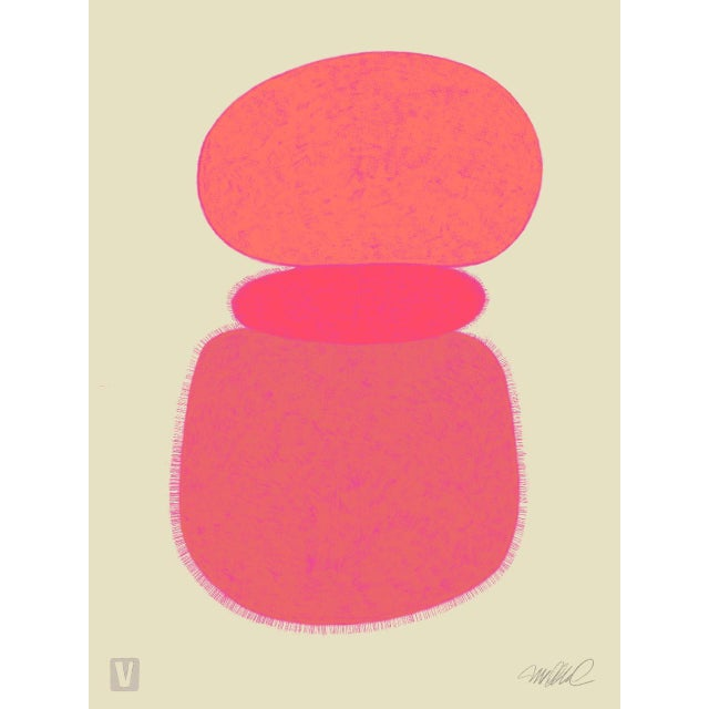 """Abstract Pink Moons, Giclee Print, 11x15"""" For Sale - Image 3 of 3"""