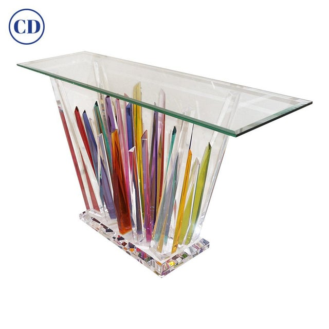 Abstract Design Rock Acrylic Multicolor Console With Clear Bevelled Glass Top For Sale - Image 9 of 9