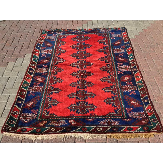 Red & Navy Vintage Hand Knotted Turkish Rug For Sale - Image 9 of 9
