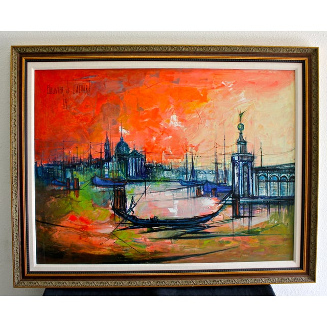 One of the most famous cityscape painting by Regis Bouvier de Cachard, (French, born 1929). Oil on Canvas, 1965. Entitled,...