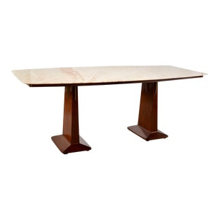 Italian Double Pedestal Table With Marble-Top in Style of Vittorio Dassi For Sale