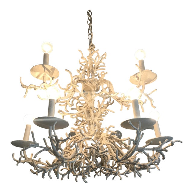 Vintage Faux Coral Chandelier - Image 1 of 10