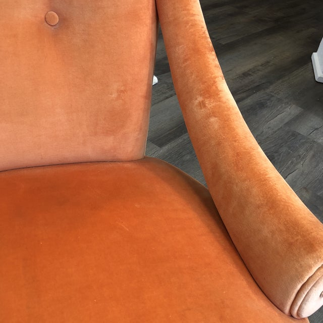 Textile 1940's Grosfeld House Orange Lounge Chair For Sale - Image 7 of 10