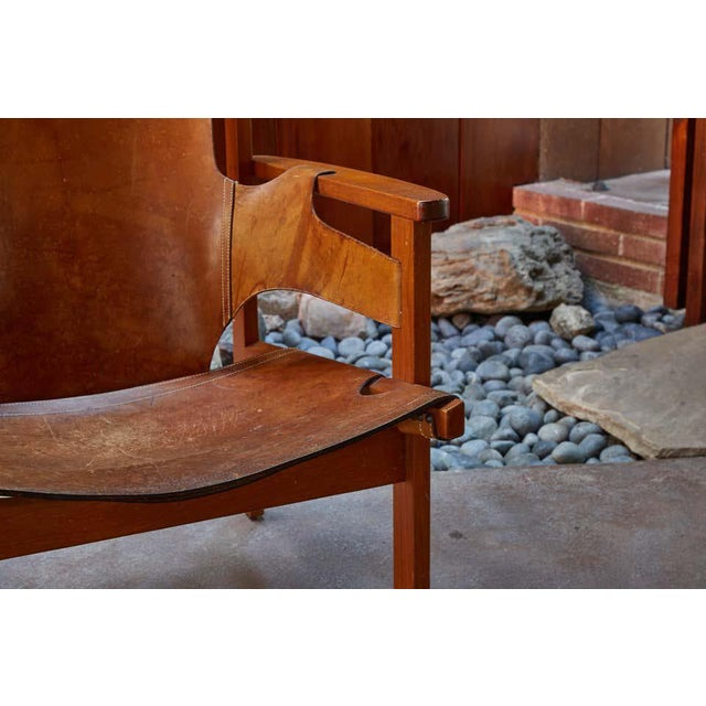 "1950s Carl Axel Acking ""Trienna"" Chair in Patinated Brown Leather For Sale - Image 11 of 13"