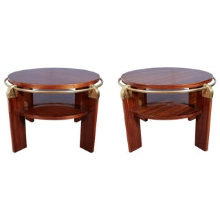 French Modern Gueridon Low Side or Coffee Tables W /Brass Trim, Louis Sognot - a Pair For Sale