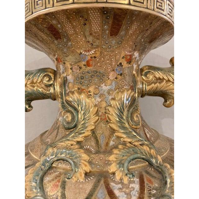 Gold Satsuma Thousand Face Vase or Urn Palace Sized Twin Handled For Sale - Image 8 of 13