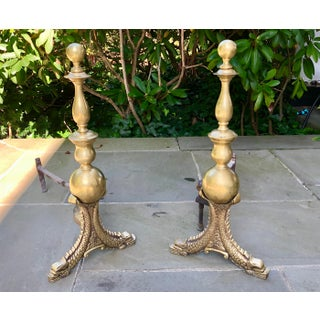 1930s Vintage French Neoclassical Fish Form Andirons - a Pair Preview