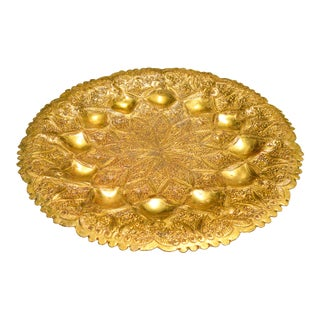 Moroccan Hand-Hammered Brass Tray For Sale