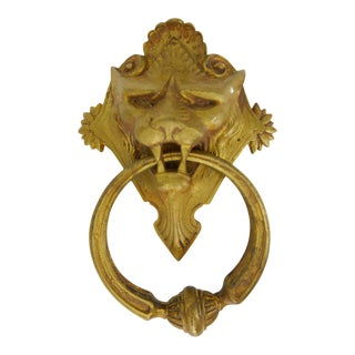 Mid-Century Brass Lion Doorknocker For Sale