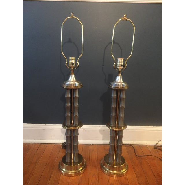 This Listing is for pair of vintage metal and brass faux bamboo table lamps. Condition-good vintage condition with signs...