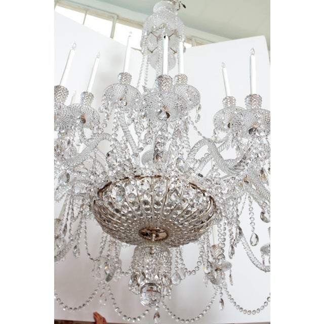 A Pair of Large Scale Majestic 24-Light Cut-Crystal Chandeliers For Sale In Dallas - Image 6 of 12