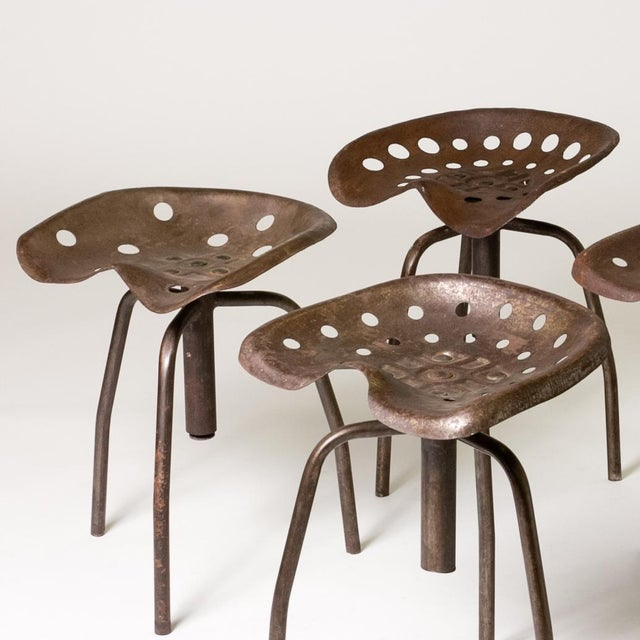 Set of Four Metal Industrial Swivel Stools For Sale - Image 4 of 5