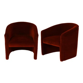 Vintage Red Velvet Upholstered Barrel Tub Chairs - a Pair