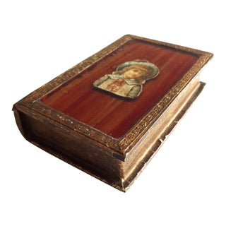 Early 20th Century Vintage French Faux Book Jewelry Box For Sale