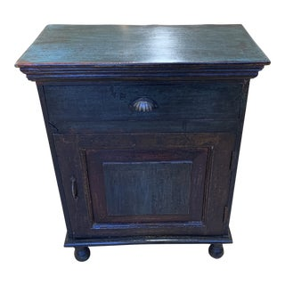 Late-20th Century Spanish Hand Painted Distressed Wood Side Table For Sale
