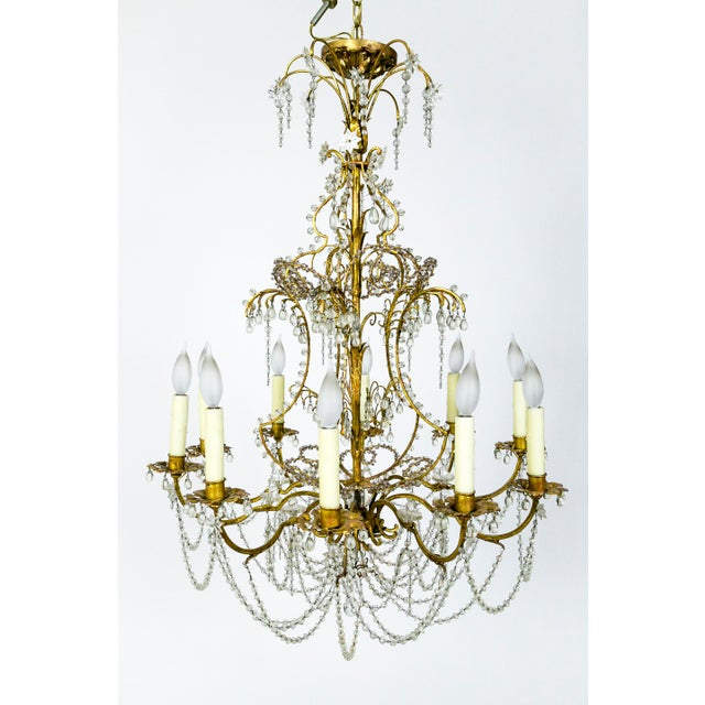 French Crystal Beaded & Brass Curls Ten Light Chandelier For Sale - Image 11 of 11