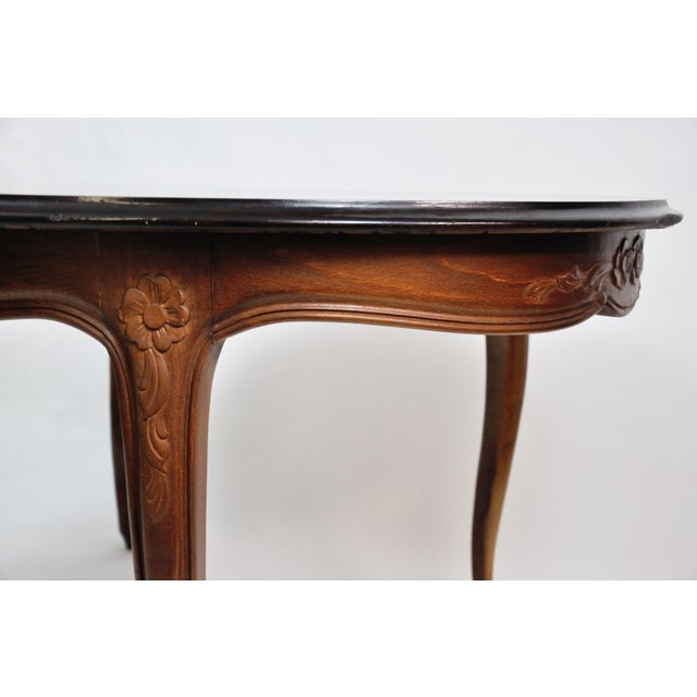 Vintage French Oval Queen Anne Cherry Wood Dining Table Circa 1960 For Sale - Image 10 of 13